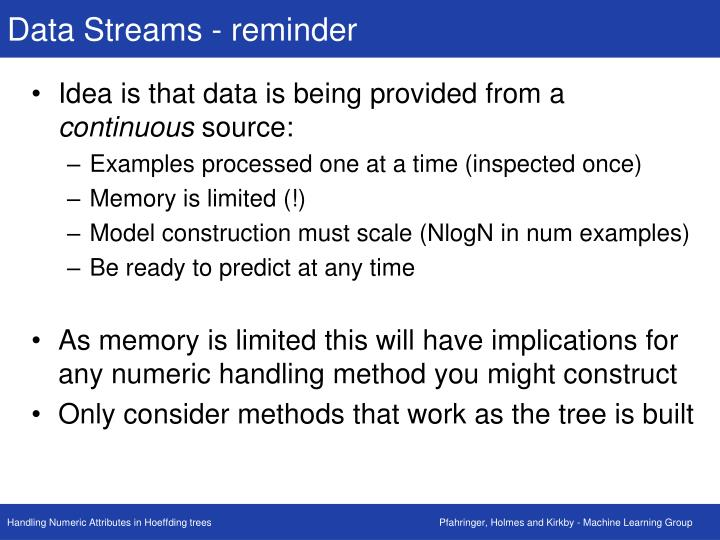 Data Streams - reminder