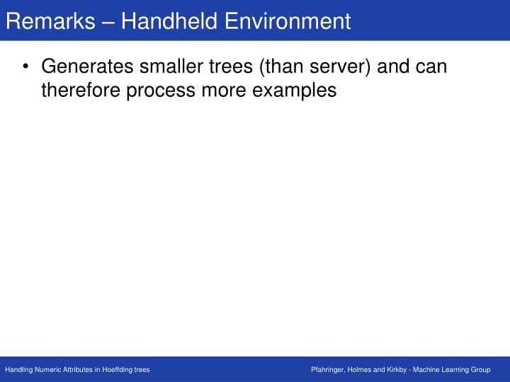 Remarks – Handheld Environment