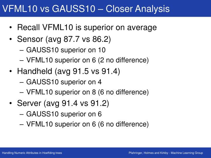 VFML10 vs GAUSS10 – Closer Analysis