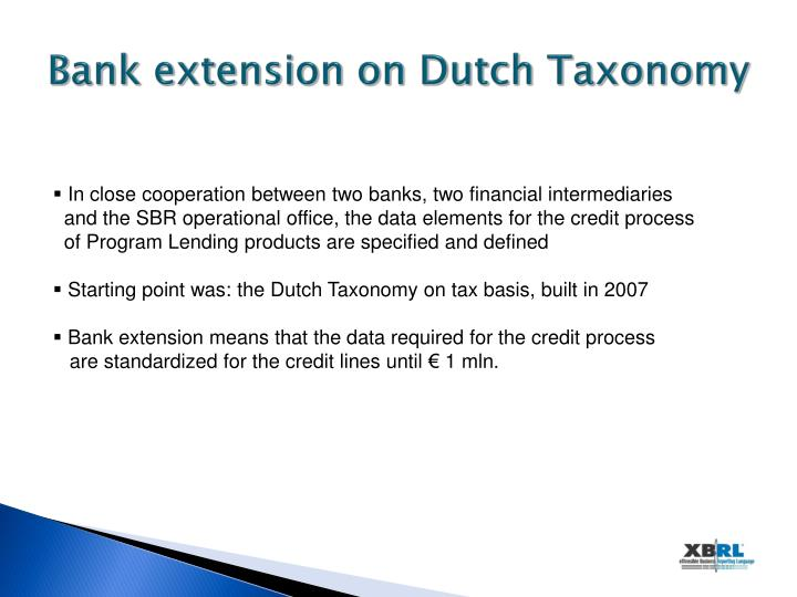 Bank extension on Dutch Taxonomy
