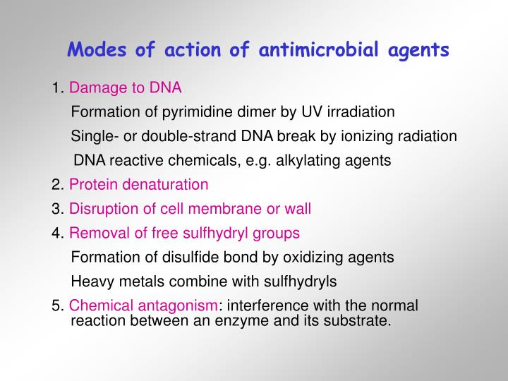 Modes of action of antimicrobial agents