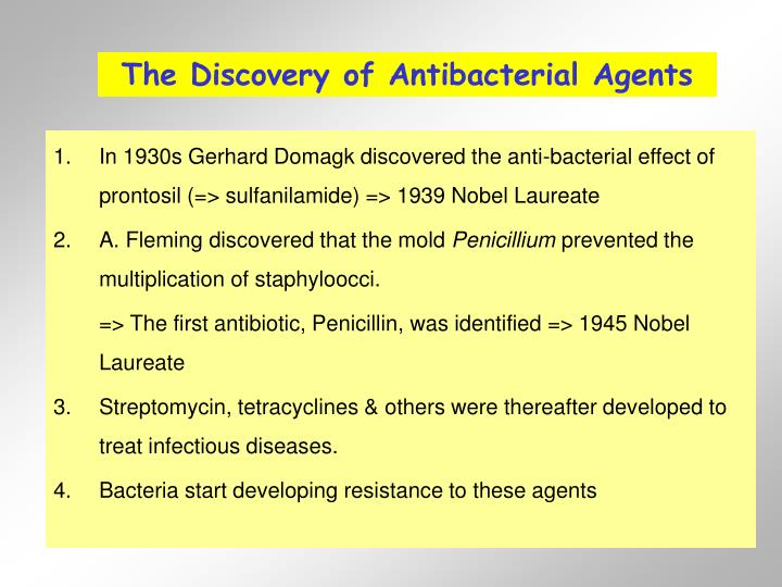 The Discovery of Antibacterial Agents