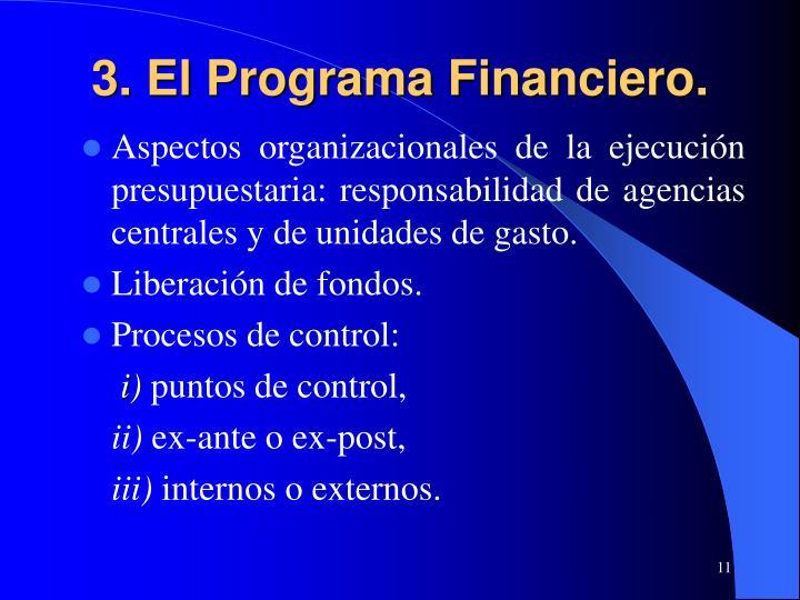 3. El Programa Financiero.