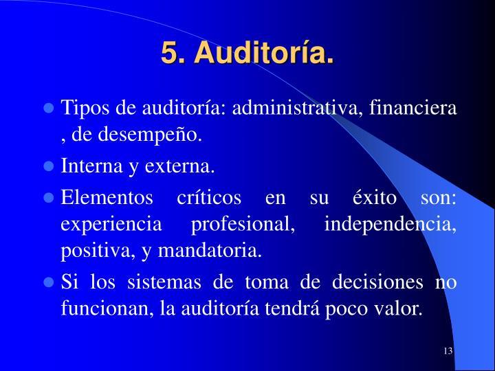 5. Auditoría.