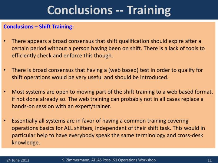 Conclusions -- Training
