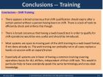 conclusions training