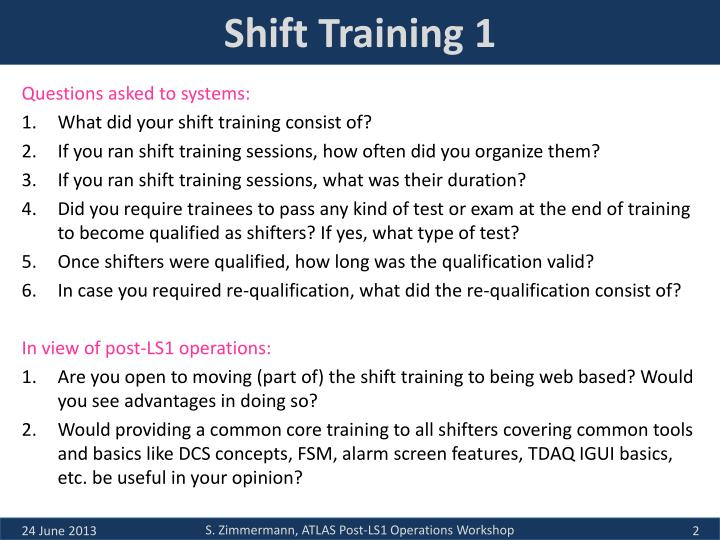 Shift Training 1