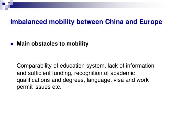 Imbalanced mobility between China and Europe