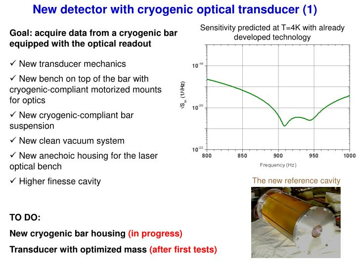 New detector with cryogenic optical transducer (1)