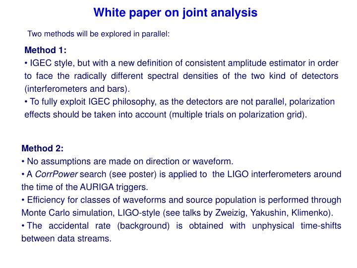 White paper on joint analysis