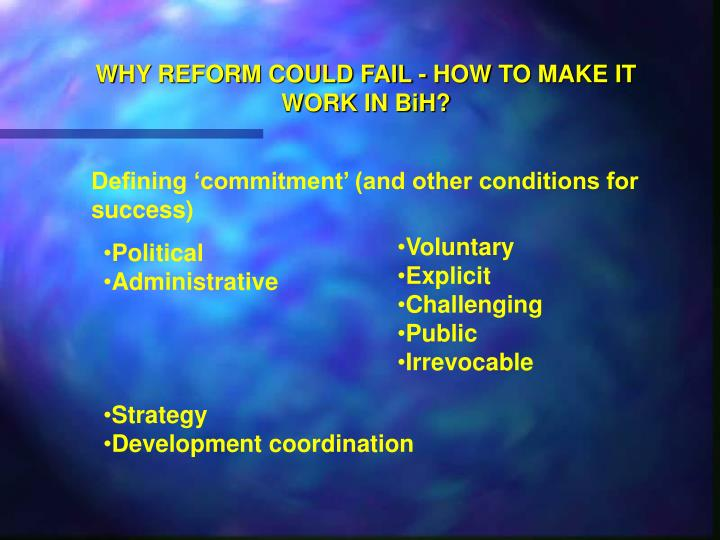 Why reform could fail how to make it work in bih1