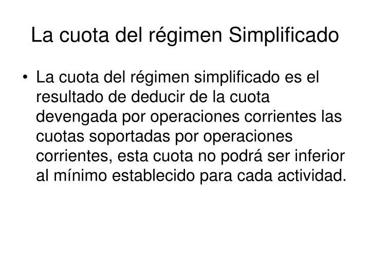 La cuota del régimen Simplificado