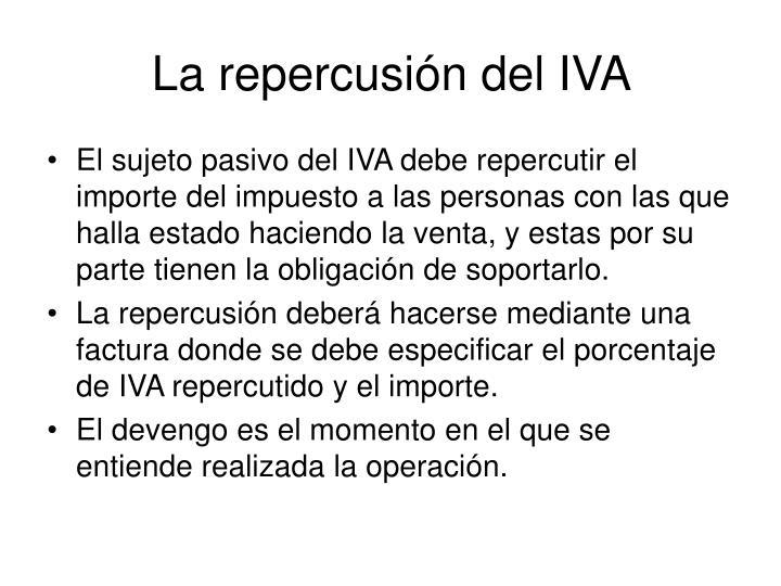 La repercusión del IVA