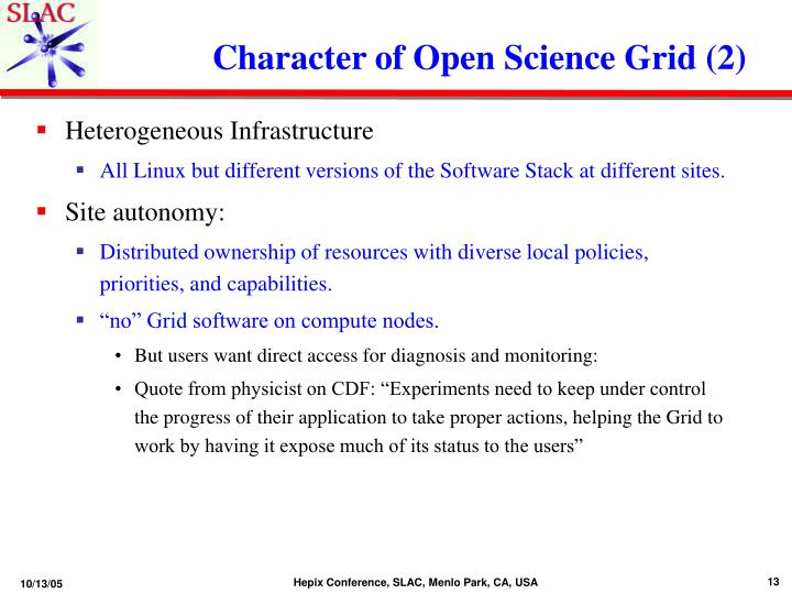 Character of Open Science Grid (2)
