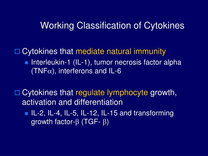 Working Classification of Cytokines