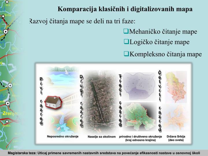 Komparacija klasičnih i digitalizovanih mapa