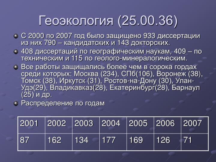 Геоэкология (25.00.36)