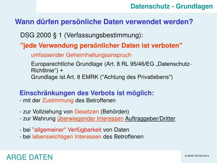 Datenschutz - Grundlagen