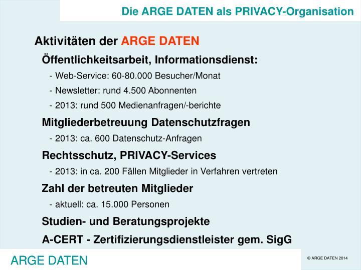 Die ARGE DATEN als PRIVACY-Organisation