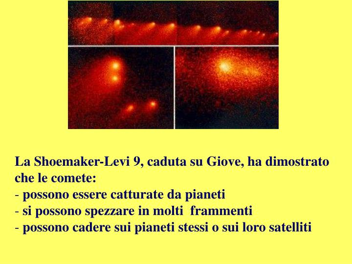 La Shoemaker-Levi 9, caduta su Giove, ha dimostrato che le comete: