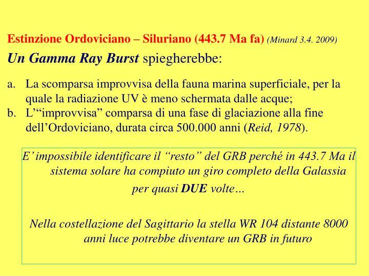 Estinzione Ordoviciano – Siluriano (443.7 Ma fa)