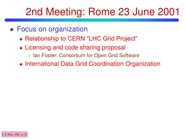 2nd Meeting: Rome 23 June 2001