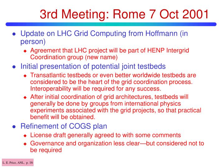 3rd Meeting: Rome 7 Oct 2001