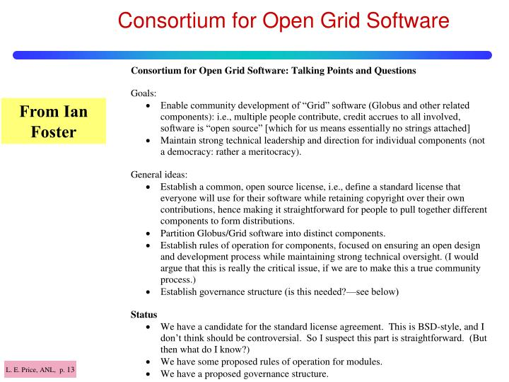 Consortium for Open Grid Software