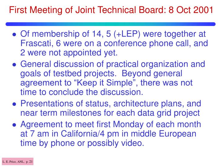 First Meeting of Joint Technical Board: 8 Oct 2001