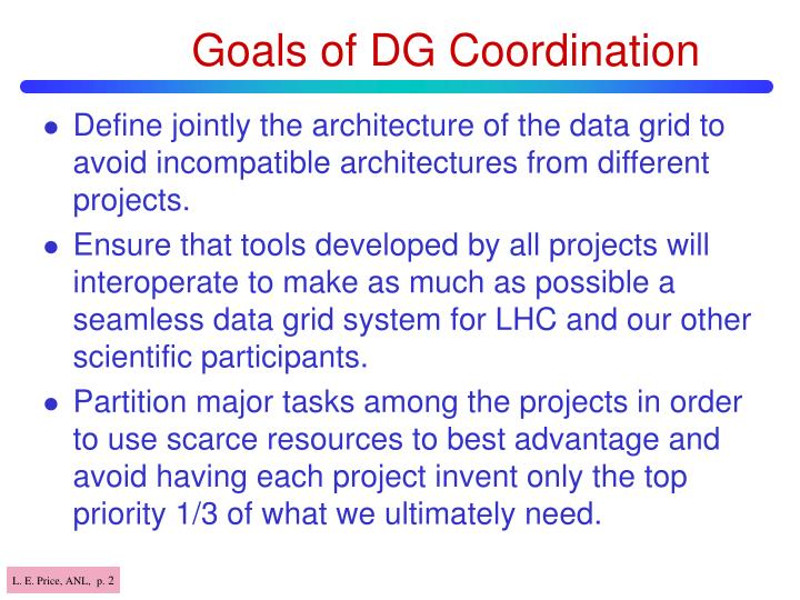 Goals of DG Coordination