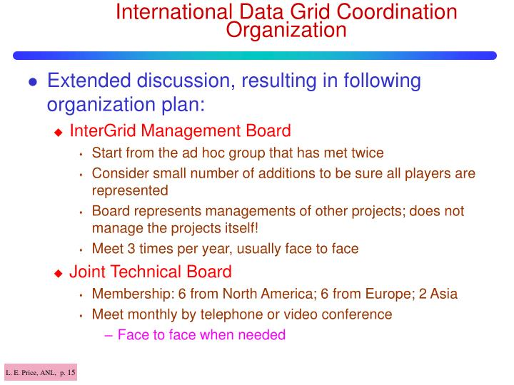 International Data Grid Coordination Organization