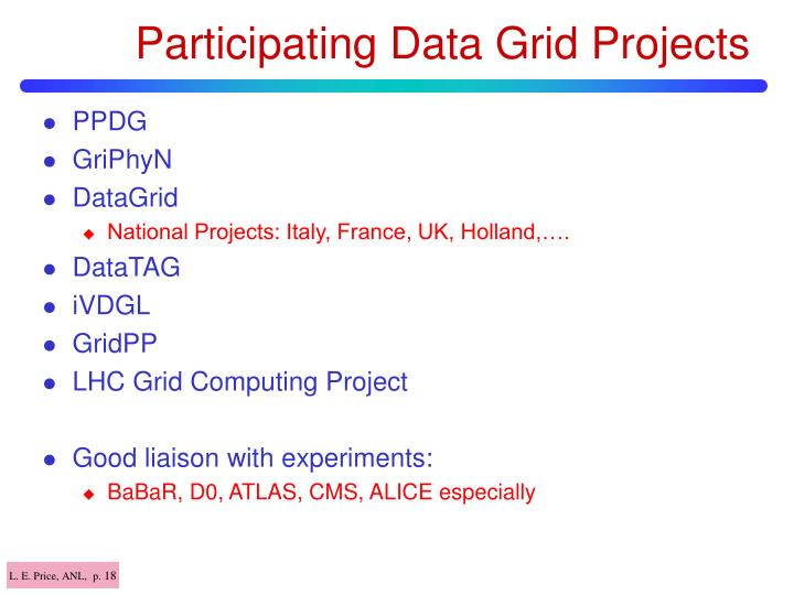 Participating Data Grid Projects