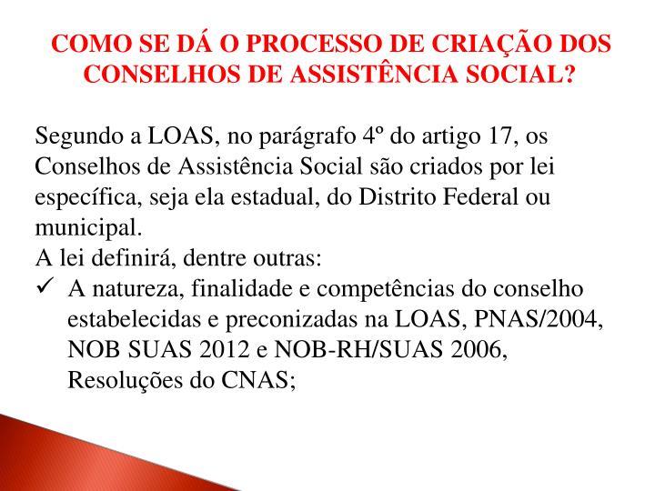 COMO SE DÁ O PROCESSO DE CRIAÇÃO DOS CONSELHOS DE ASSISTÊNCIA SOCIAL?