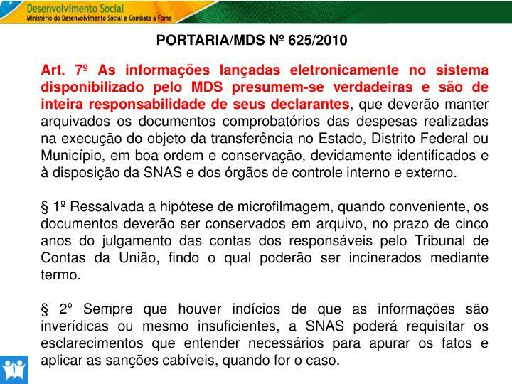 PORTARIA/MDS Nº 625/2010