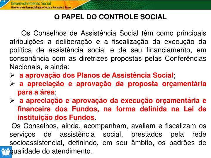 O PAPEL DO CONTROLE SOCIAL