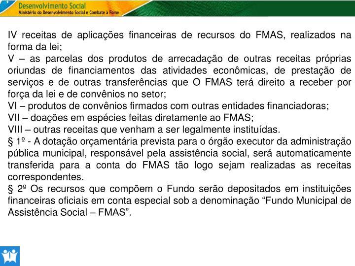 IV receitas de aplicações financeiras de recursos do FMAS, realizados na forma da lei;