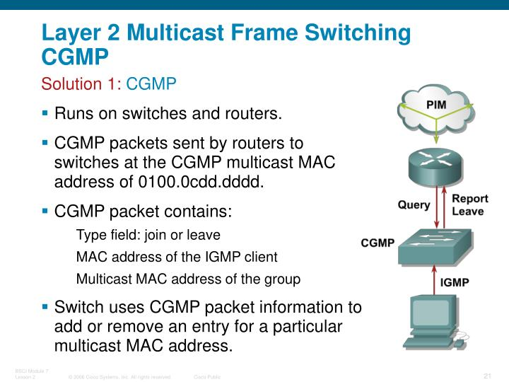 Layer 2 Multicast Frame Switching