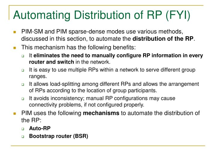 Automating Distribution of RP (FYI)