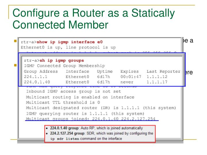 Configure a Router as a Statically Connected Member