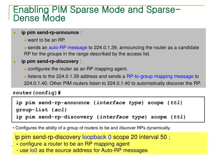 Enabling PIM Sparse Mode and Sparse-Dense Mode