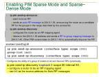 enabling pim sparse mode and sparse dense mode
