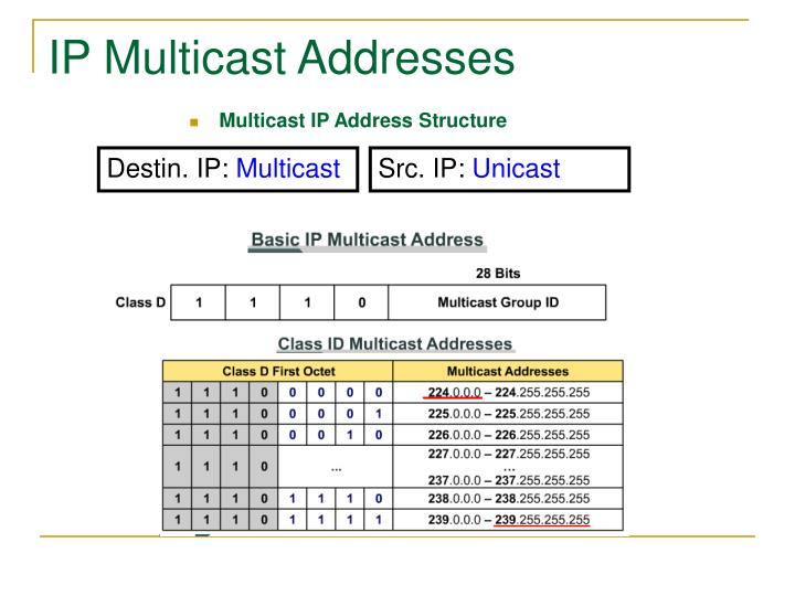 IP Multicast Addresses