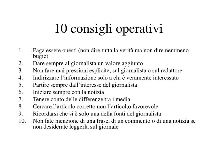10 consigli operativi