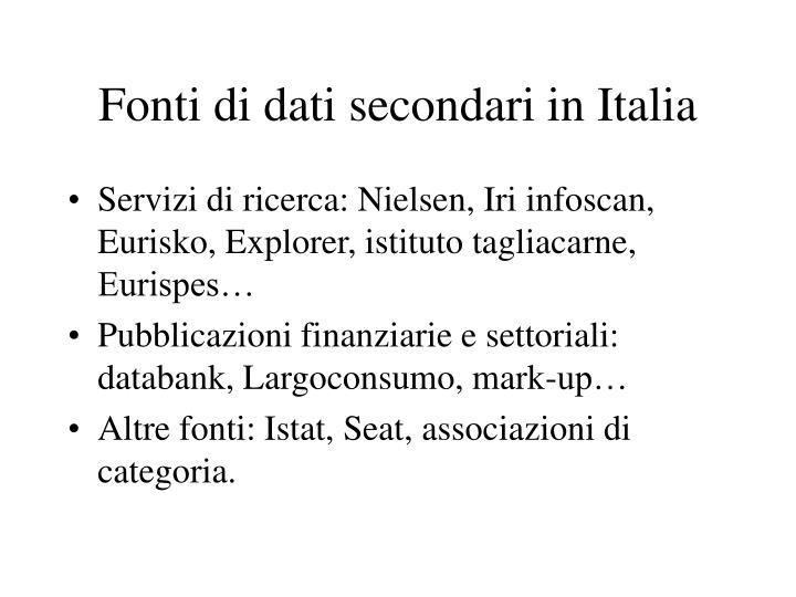 Fonti di dati secondari in Italia