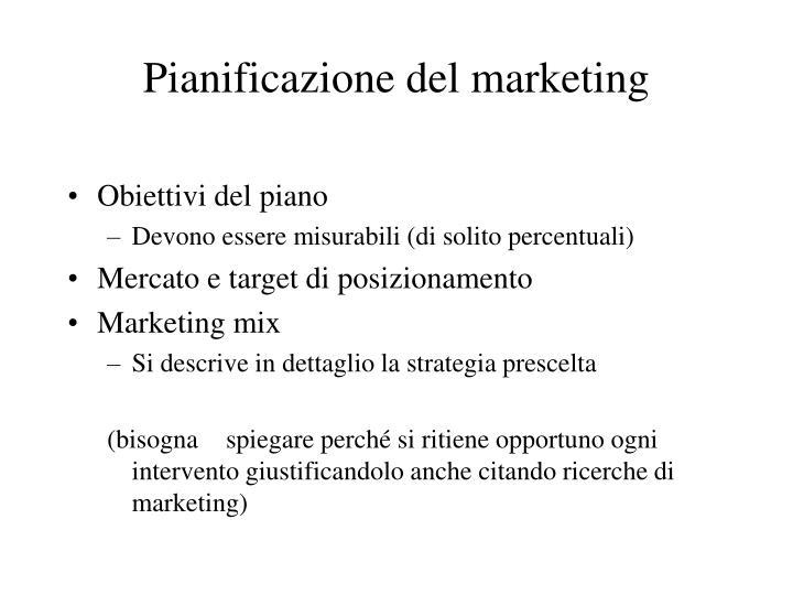 Pianificazione del marketing