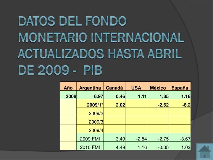 Datos del Fondo Monetario Internacional actualizados hasta Abril de 2009 -  PIB
