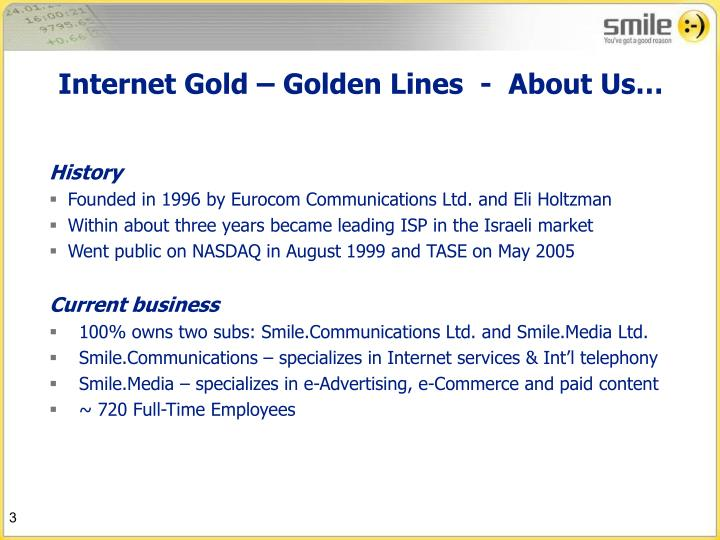Internet Gold – Golden Lines  -  About Us…