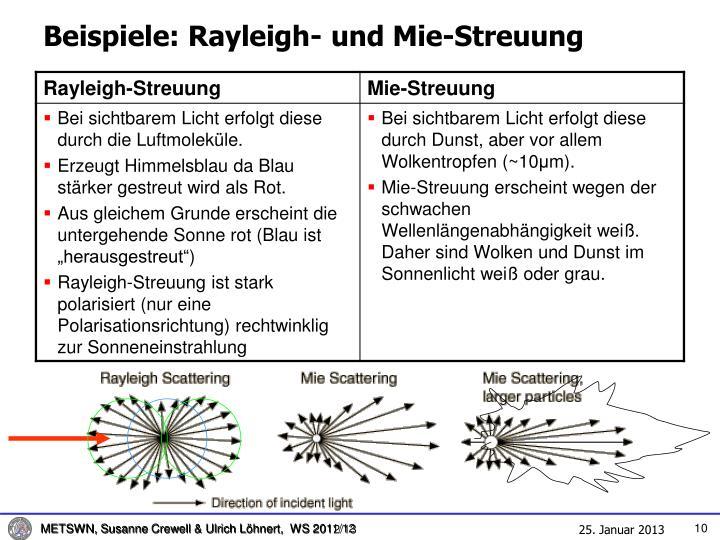 Beispiele: Rayleigh- und Mie-Streuung
