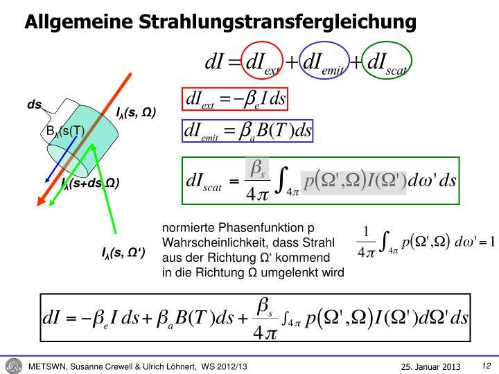 Allgemeine Strahlungstransfergleichung