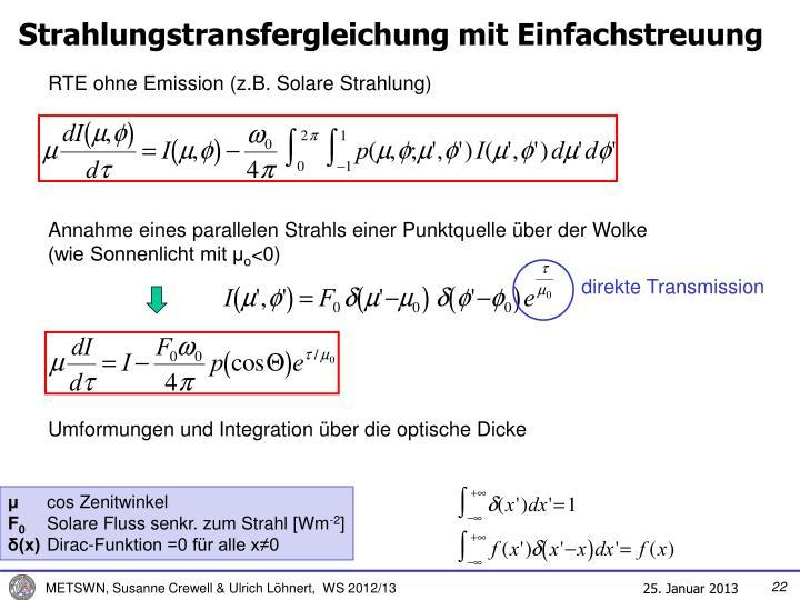 Strahlungstransfergleichung mit Einfachstreuung